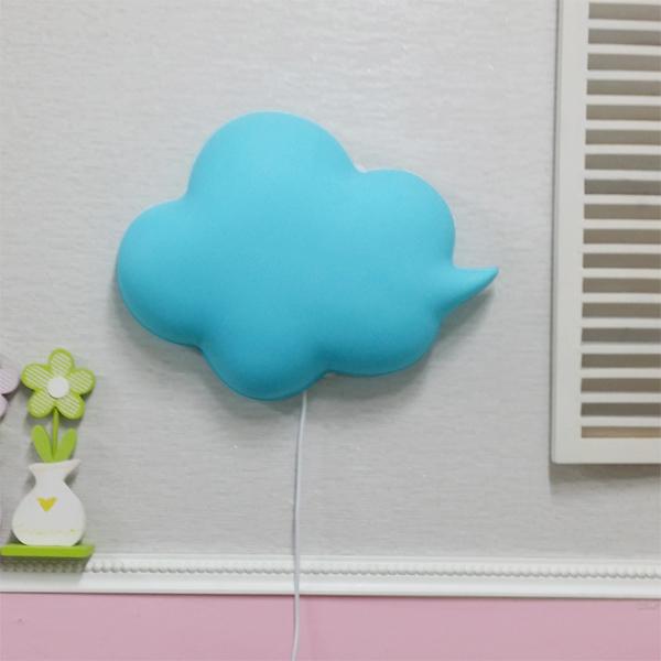 밝기조절 LED형 구름모양 벽등(블루)