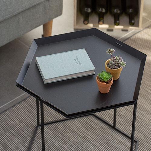 인더프레임 헥사곤 트레이 철제테이블 (2color)