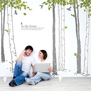 나무의꿈 (자작나무7그루) 그래픽스티커 나무 월데코 시트지