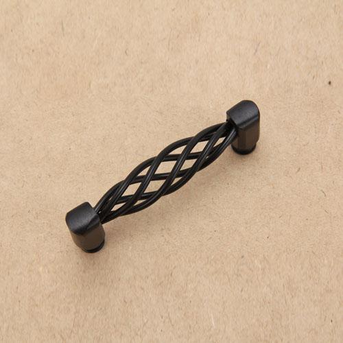 꽈배기 가구손잡이 탑 (96mm-블랙)