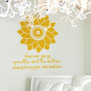 심플해바라기 - 꽃 그래픽스티커 거실 풍수인테리어 월데코 포인트