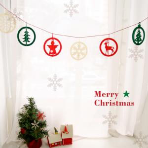 크리스마스 서클 오너먼트 가랜드 6p set