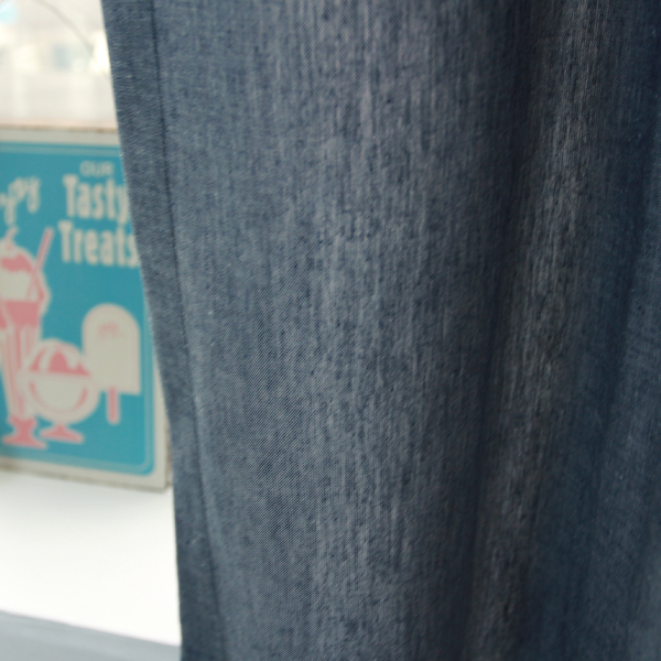 선염 무지 커튼 - 청색