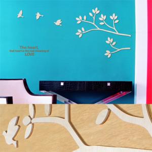 [우드스티커] 버드하모니 (반제품) - 입체우드 월데코  포인트 집꾸미기 벽장식