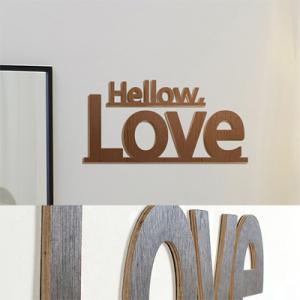 [우드스티커] 헬로러브 (컬러완제품) - 입체우드 월데코  포인트 집꾸미기 벽장식