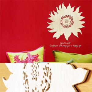 [우드스티커] 우든해바라기 (반제품) - 입체우드 월데코  포인트 집꾸미기 벽장식