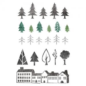 스텐실 도안_북유럽패턴 나무와 집(A4/A3)