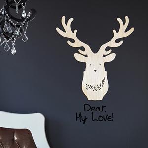 [우드스티커]사슴벽장식 (반제품) - 입체우드 월데코  포인트 우드스카시 벽장식