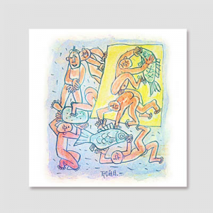 [시즈팝 캔버스아트] CAS166-LJS-10-이중섭-물고기와 노는 아이들 2