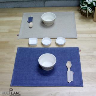 블루 캔버스 방수 테이블 매트