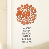 [우드스티커] 플라워리스 (컬러완제품) - 입체우드 월데코  포인트 나무스카시 벽장식