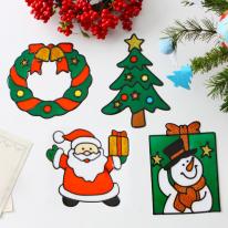[크리스마스장식소품]스테인드 젤리 스티커 4P