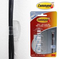 [3M]코맨드 투명 전선용 클립 4입