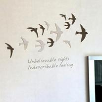 [우드스티커] 날아올라 (컬러완제품) - 입체우드 월데코  포인트 나무스카시 벽장식
