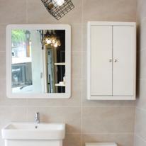 원목 라운딩 거울(화이트)