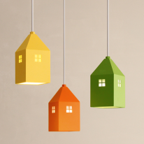 하우스3등 펜던트[LED]-라운드형(6color)