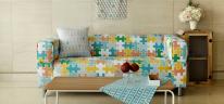NS/ 1마/ 워터버블워싱] 파스텔 북유럽 패턴 - Puzzle Repeat Pattern Water Bubble Washing Cotton