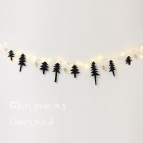[디홈] 노르웨이 숲 블랙 트리 가랜드 + 드럼 LED 조명(웜) 50구세트