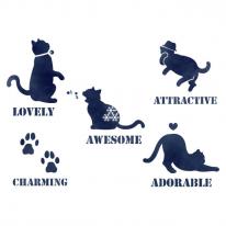 스텐실 도안_멋쟁이 고양이 (A4)
