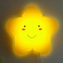 밝기조절 LED형 스마일 별모양 벽등 (옐로우)