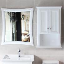 뉴라인 사각 원목 욕실거울(화이트)