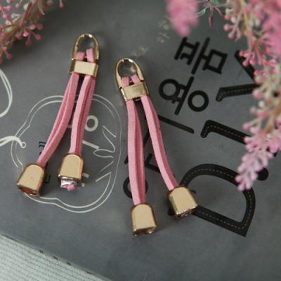 지퍼고리]천연가죽1set 2개-스트릿(핑크)(99917)