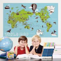초간편 일러스트세계지도-P1102(블루)