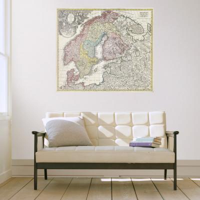 초간편 빈티지세계지도-V1103(스칸디나비아)