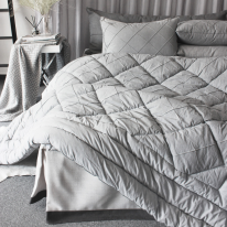 Pintuck quilting gray comforter
