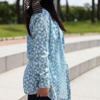 워싱 크리즈가공]대폭 벚꽃앤딩-스카이블루(a1537)
