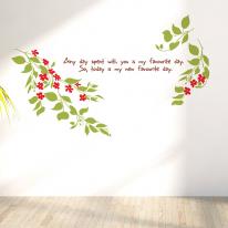 행복줄기 S644-꽃줄기 플라워 벽 장식 그래픽 스티커