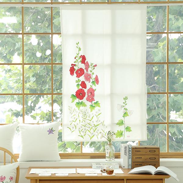 들꽃이야기 접시꽃 광목 가리개커튼 85x145