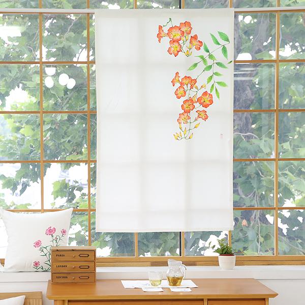 들꽃이야기 능소화 광목 가리개커튼 85x145