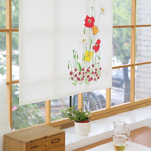 들꽃이야기 양귀비 광목 가리개커튼 85x145