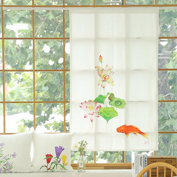 들꽃이야기 연꽃과 잉어 광목 가리개커튼 85x145