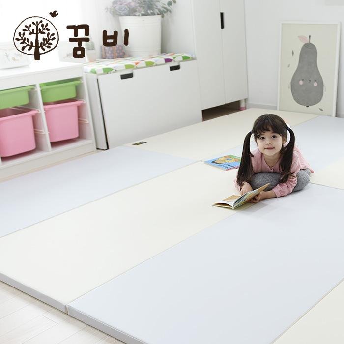 [꿈비 짱짱매트] 모네 파스텔 P150-베이비그레이 150x120x4cm / 놀이방 아기유아폴더매트