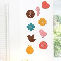 우드스티커-픽토그램2 (컬러완제품) 입체우드 포인트