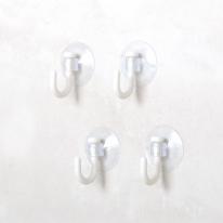 [KM] 벽걸이 원형 투명 흡착후크 S 4P [512]