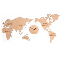 (ktk061)저소음 세계지도 우드드벽시계