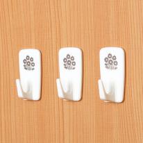 [KM] 벽걸이 꽃무늬 접착후크 3P [6146]