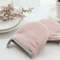 린넨배색 핑크 주방장갑