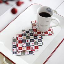 [2HOT] 크리스마스 패턴 컵받침 4P
