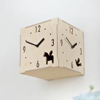 (ktk075)자작나무 삼면시계 (도트)