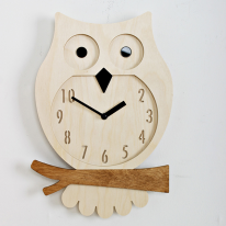 (ktk076)저소음 자작나무 부엉이 단면시계(w)