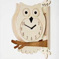 (ktk077)저소음 자작나무 부엉이 양면시계(w)