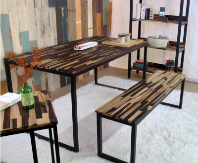 [노바스튜디오]소노클린 원목 철제 식탁테이블 세트