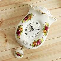 도자기 옐로 로즈 추 시계