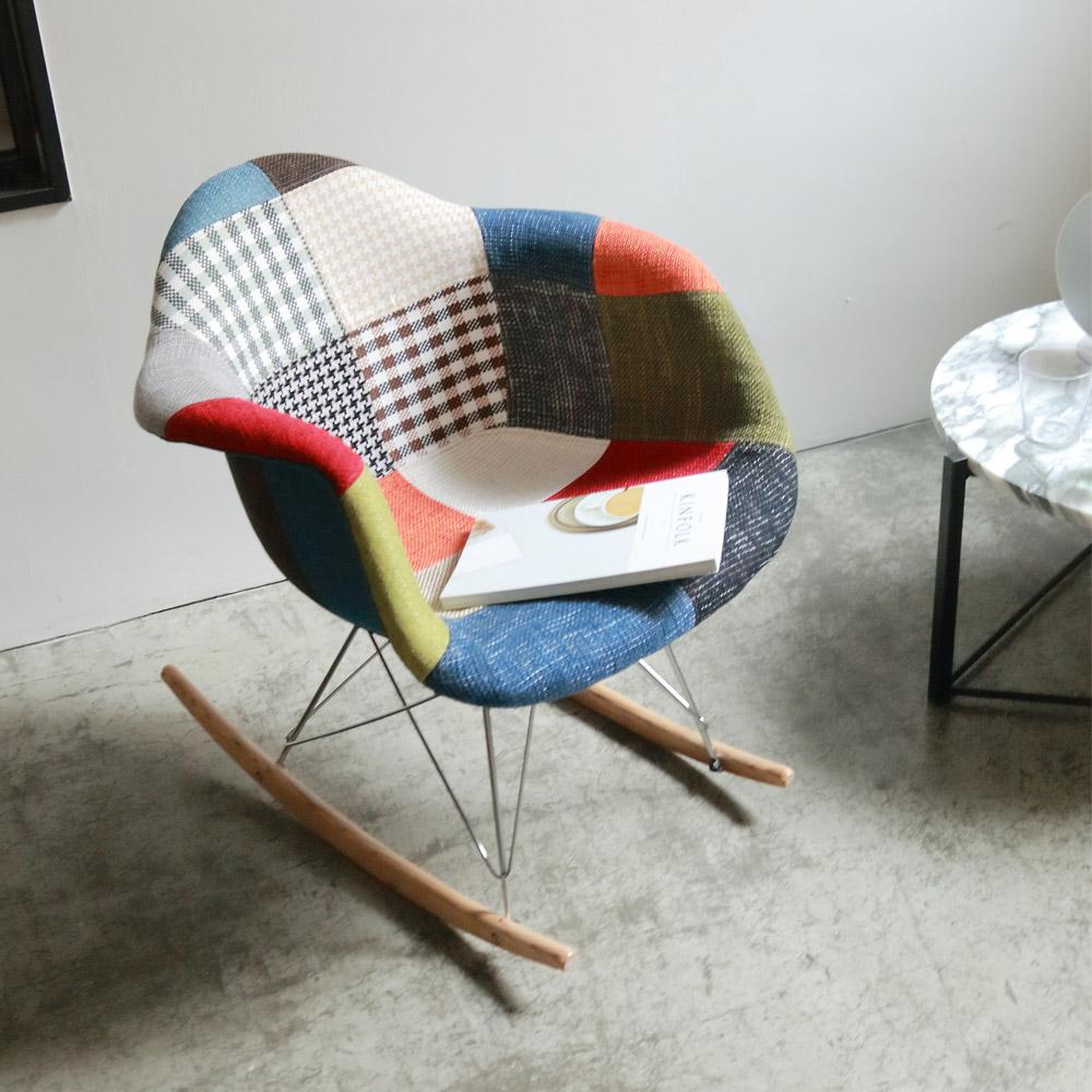 QUILTE 패브릭 퀼팅 스윙체어 흔들 의자