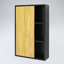 오픈 선반 원목 욕실장(블랙+메이플)
