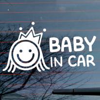 자동차스티커_스마일 공주 baby in car